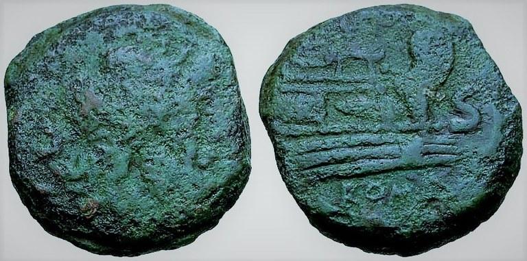 Antica moneta romana con la sagoma di una prua