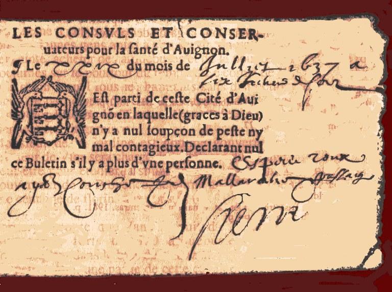Antico bollettino sulla salute pubblica ad Avignone - Non si registra la presenza della peste