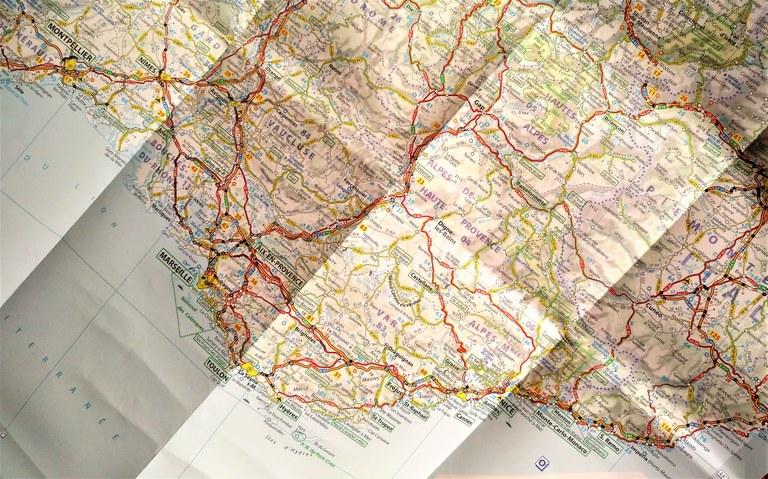 Carta stradale della Provenza e della Costa Azzurra