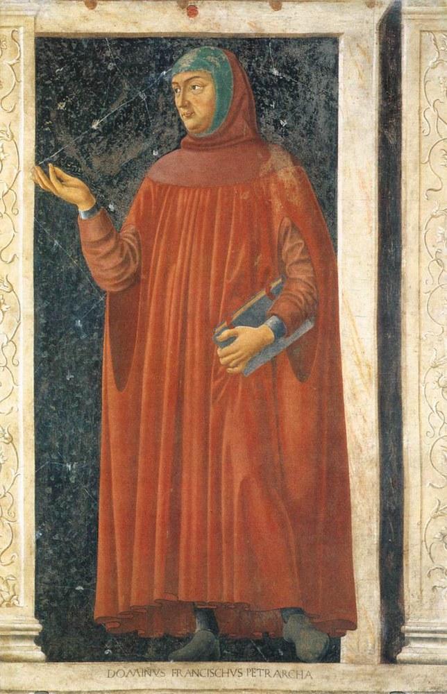 Francesco Petrarca in un affresco di Andrea del Castagno, Galleria degli Uffizi, Firenze.jpg