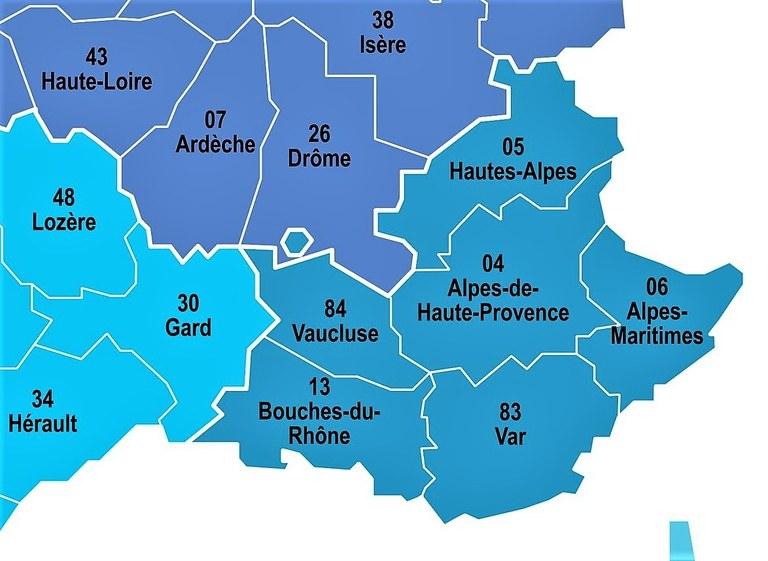 I dipartimenti della Regione PACA e dintorni