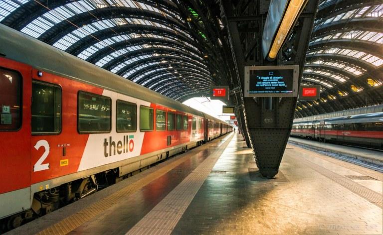 Il treno Thello per Nizza in partenza alla Stazione Centrale di Milano - Immagine: Thello