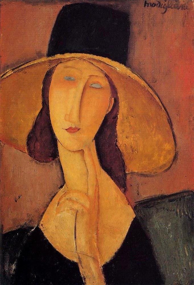Jeanne Hébuterne con cappello a falda larga, ritratta da Amedeo Modigliani