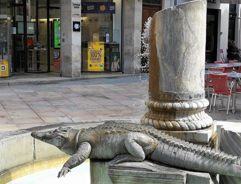 Nîmes, il coccodrillo, inseme alla palma, è il simbolo della città
