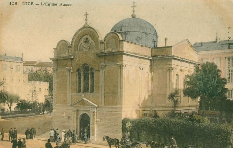 Nizza, la chiesa ortodossa di San Nicola e Santa Alessandra - Immagine d'epoca