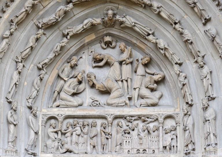 Parigi, basilica di Saint Denis, timpano del portale nord - Foto Myrabella - Wikimedia Commons