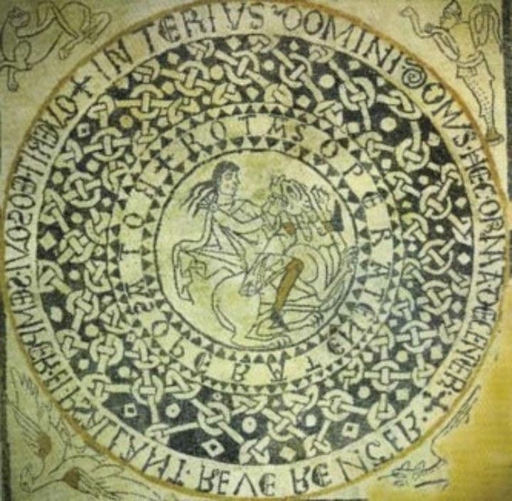 Sator della chiesa dei Santi Pietro e Orso ad Aosta. Le parole sono disposte in cerchio
