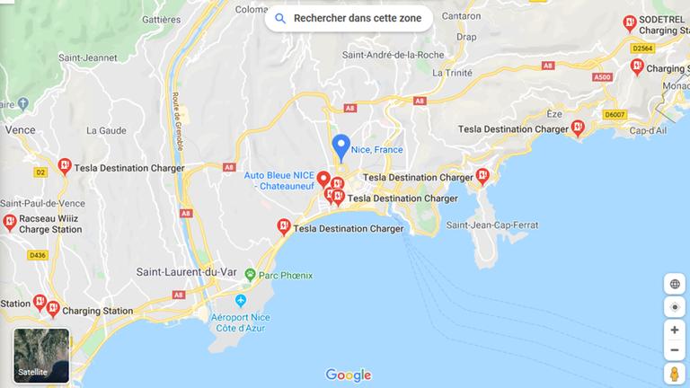 Stazioni di ricarica auto elettriche nei pressi di Nizza, Google Maps